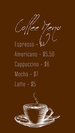 Brown Handwriting Font Cafe Menu Instagram Story with Cup Illustration Coffee Menu