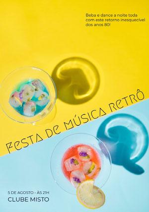 Festa de música retrô Convite para festa