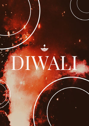 Red and Brown, Illuminated, Diwali Card  Diwali
