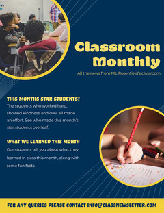 Yellow & Navy Classroom Monthly Newsletter Back to School