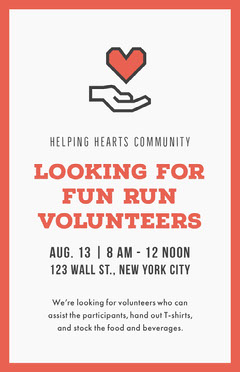 White and Red Looking for Volunteers Poster Volunteer