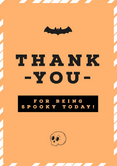 Orange, White and Black, Halloween Party Thank You Card Halloween Party Menu