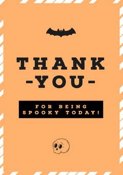 Halloween Pumpkin Bat Party Thank You Card Halloween Party Thank you Card