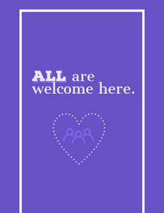 Violet and White Senetence Flyer Welcome Poster