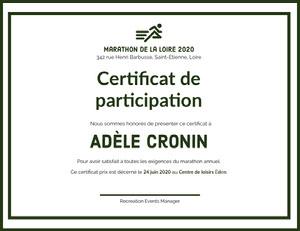 Adèle Cronin Certificat