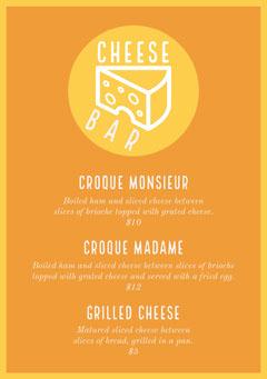 Yellow and Orange Cheese Bar Menu Cheese