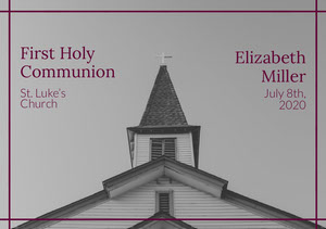 Grey and Purple First Holy Communion Announcement Card Communion Annoucements