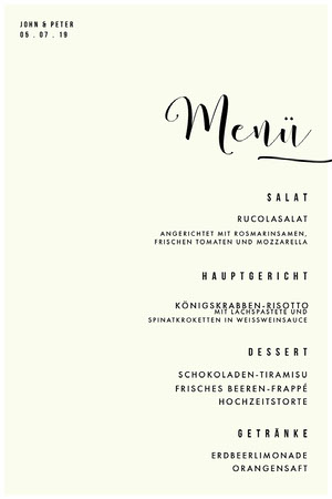 classic wedding menu Menü