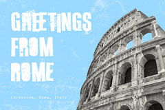 Blue and Grey Greetings From Colosseum Postcard Italy