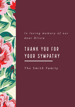 Claret and Flowered Pattern Thank You Card Funeral
