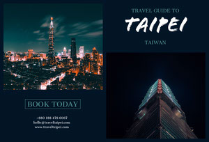 Black With Illuminated City Taipei Brochure Brochure
