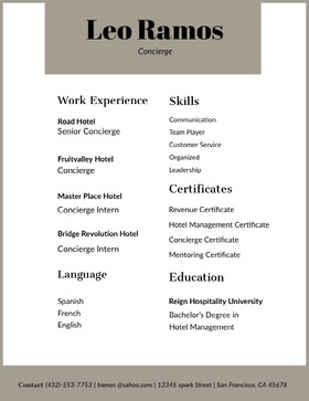 Grey and White Concierge Resume Currículum moderno