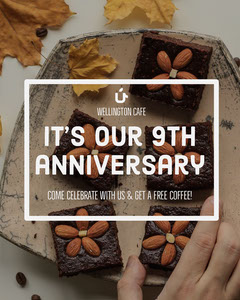 Yellow Cafe Instagram Portrait Ad with Cake Celebration