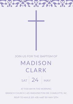 Purple Daughter Baptism Invitation Card with Cross Baptism