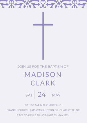 Purple Daughter Baptism Invitation Card with Cross Baptism Invitation