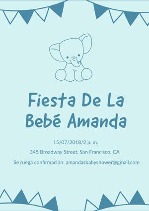 baby elephant baby shower invitations  Invitación de fiesta de nacimiento