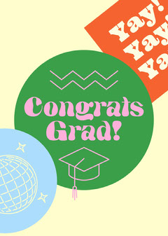 Colorful Illustration Congratulations to Graduate Card Graduation Congratulation