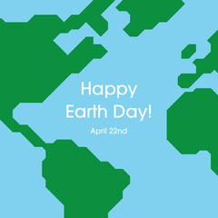 Happy Earth Day Map Illustration Earth