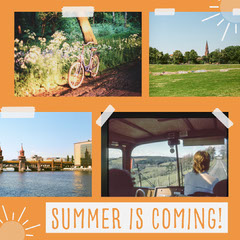 Orange Summer Collage Instagram Square  Bike
