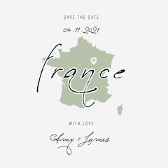 Green and White France Wedding Save The Date Instagram Square France