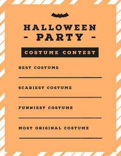 Halloween Pumpkin Bat Party Costume Card Halloween Costume Contest