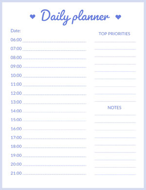 Blue Daily Planner with Time of Day Planificateur