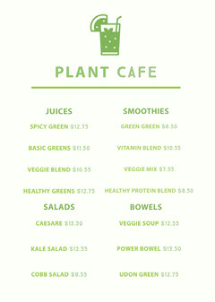 Green Vegetable Juice and Smoothie Cafe Menu Drink Menu