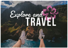 Travel and Explore Postcard with Scenic Landscape Vykort