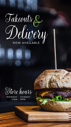 takeout and delivery instagram story COVID-19 Re-opening