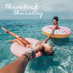 Throwback Thursday Vacation Photo with Handwriting Girls