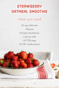 Red Strawberry Oatmeal Smoothie Recipe -  Pinterest Post  Fruit