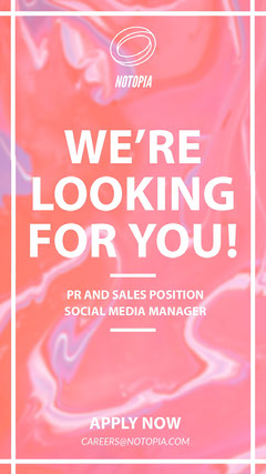 Pink Marble Open Position Job Instagram Story Social Media Flyer
