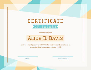Salary Certificate Certificate