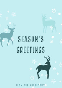 Blue Season's Greetings Deer Card Tarjetas