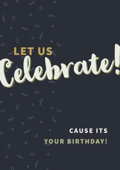 Black Celebrate Happy Birthday Card Birthday