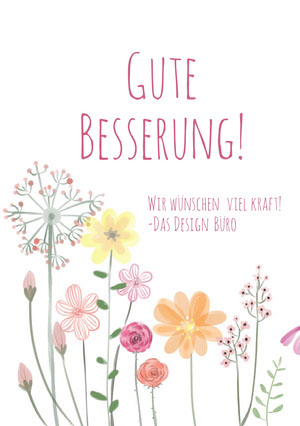 colorful flowers get well soon cards Genesungskarte