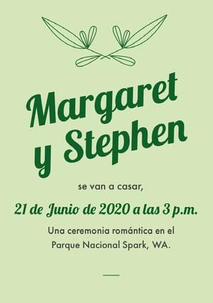green wedding invitations  Invitación de boda