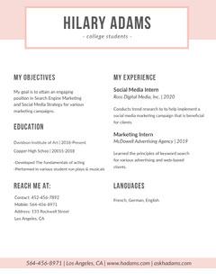 Pink SEO and Social Media Marketing Resume Marketing