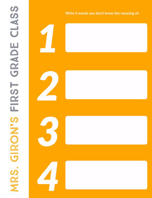 Orange First Grade Class Primary School Lesson Plan Horario de clase
