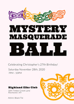 modern multicolored Masquerade Invitation Masquerade Invitation