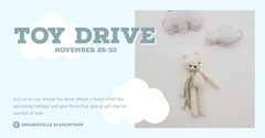 White and Blue Toy Drive Event Facebook Banner Toy Drive Flyer