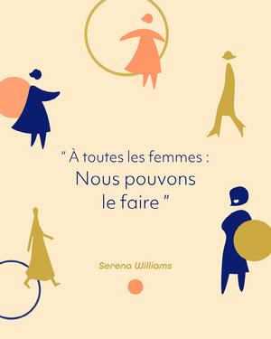 Cream Blue Peach Illustration All Women Serena Quote Instagram Portrait  Affiche de motivation