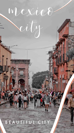 Mexico City Travel and Tourism Instagram Story with Tourists and City Photo City
