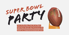Super Bowl Party Facebook Event Cover with Football Super Bowl