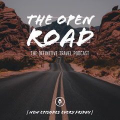 Travel Podcast Square Graphic with Road in Desert Desert