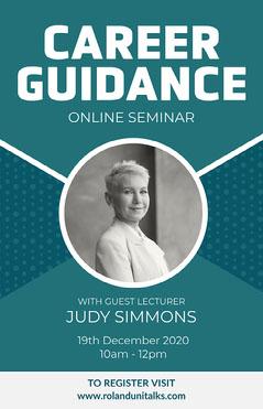 Blue & White Career Guidance Poster Speaker