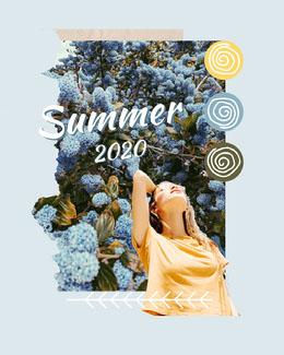 Blue Summer 2020 Collage Instagram Portrait Montage photo