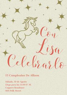 let's celebrate gold stars unicorn birthday cards  Tarjeta de cumpleaños