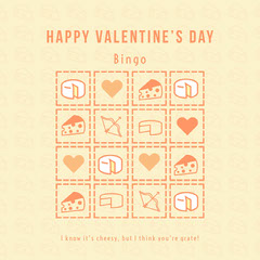 Yellow Cheese Pun Valentine's Day Bingo Card Cheese