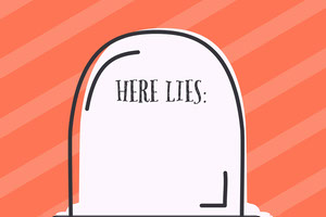 Gravestone Halloween Party Name Tag Etiqueta de nome